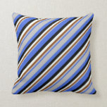 [ Thumbnail: Royal Blue, Grey, Brown, Mint Cream, and Black Throw Pillow ]