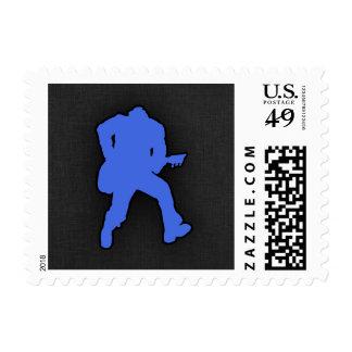 Royal Blue Guitar Player Stamp