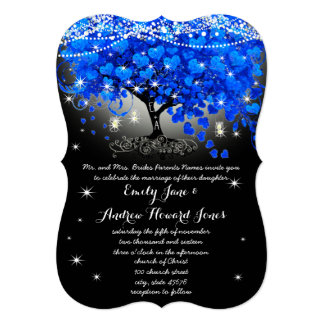 Royal Blue Heart Leaf Tree Mason Jar on Black Card
