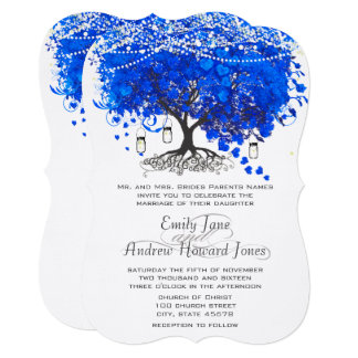Royal Blue Heart Leaf Tree Wedding Card