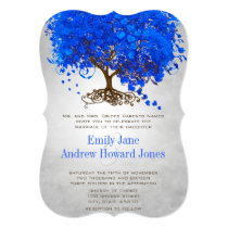 Royal Blue Heart Leaf Tree Wedding Invitations