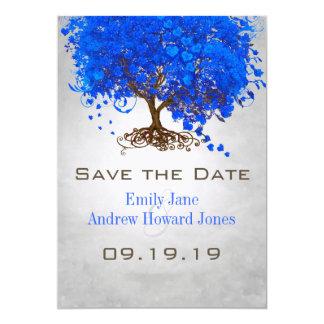 Royal Blue Heart Leaf Tree Wedding Save the Date Card