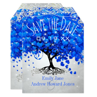 Royal Blue Heart Leaf Tree Wedding Save the Date Card