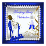 Royal Blue Heels Gold Champagne Birthday Party 5.25x5.25 Square Paper Invitation Card