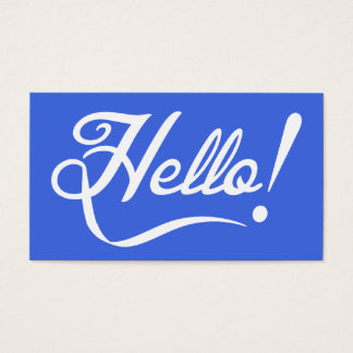 Royal Blue Hello Business Card