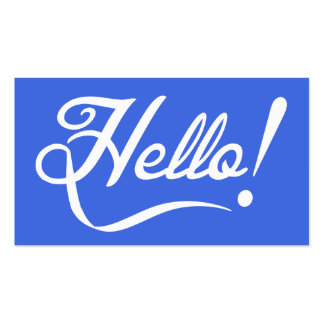 Royal Blue Hello Double-Sided Standard Business Cards (Pack Of 100)