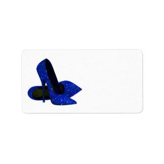 Royal Blue High Heel Shoe Address Labels