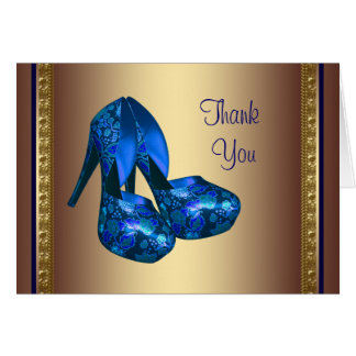 Royal Blue High Heel Shoes Blue Gold Thank You Car Greeting Cards