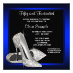 Royal Blue High Heels Birthday Party Personalized Invites