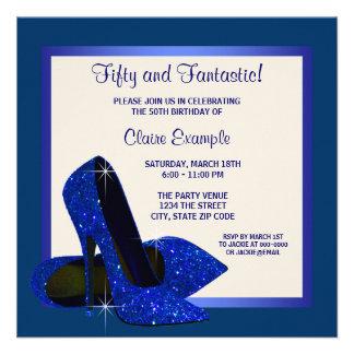 Royal Blue High Heels Womans Birthday Party Custom Invitation