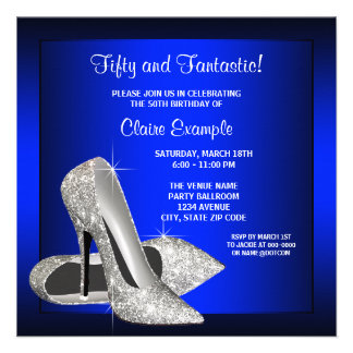 Royal Blue High Heels Womans Birthday Party Personalized Announcement