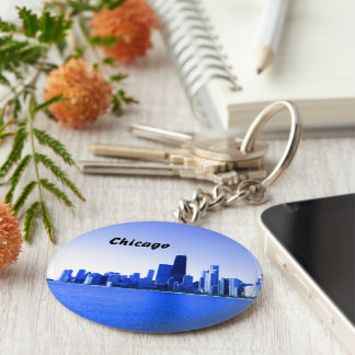Royal Blue Highlighted Chicago Keychain