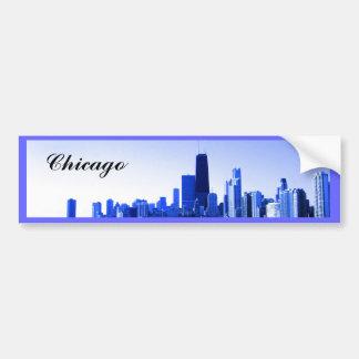Royal Blue Highlighted Chicago Skyline Bumper Sticker