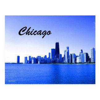Royal Blue Highlighted Chicago Skyline Postcard