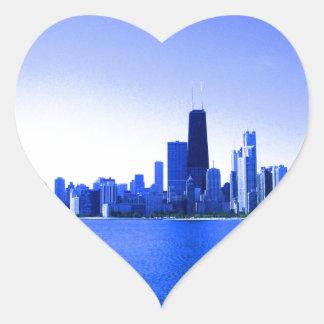 Royal Blue Highlights Chicago Skyline Heart Sticker