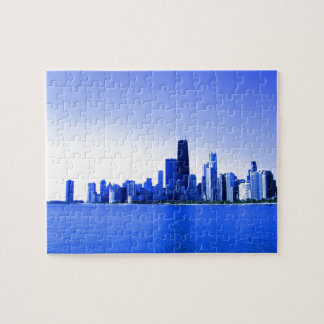 Royal Blue Highlights Chicago Skyline Jigsaw Puzzle
