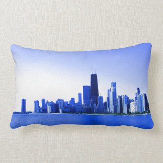 Royal Blue Highlights Chicago Skyline Lumbar Pillow