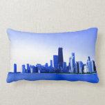 Royal Blue Highlights Chicago Skyline Pillows