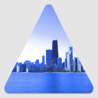 Royal Blue Highlights Chicago Skyline Triangle Sticker