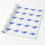 Royal Blue Horse Racing Gift Wrapping Paper