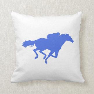 Royal Blue Horse Racing Throw Pillow