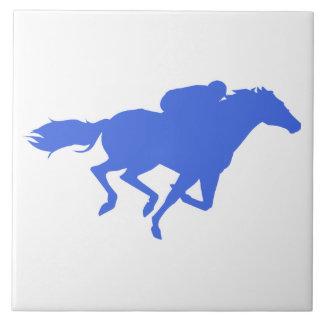 Royal Blue Horse Racing Ceramic Tile