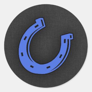 Royal Blue Horseshoe Classic Round Sticker
