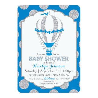 Royal Blue Hot Air Balloon Baby Shower Card