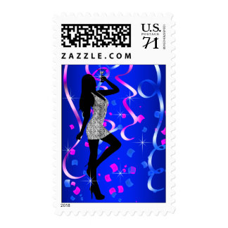 Royal Blue Hot Pink Birthday Party Postage