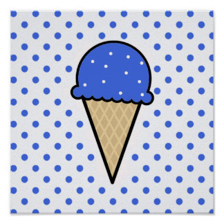 Royal Blue Ice Cream Cone Poster