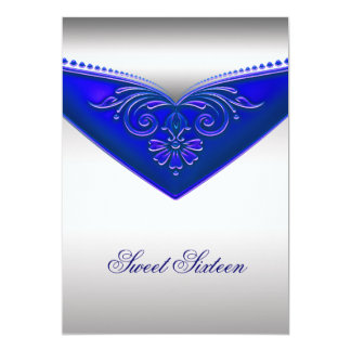 Royal Blue Ivory Sweet Sixteen Birthday Party 5x7 Paper Invitation Card