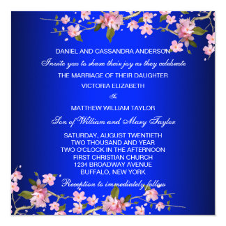 Royal Blue Japanese Cherry Blossoms Wedding Card