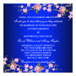 Royal Blue Japanese Cherry Blossoms Wedding Custom Announcements