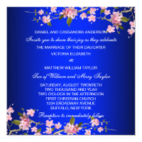 Royal Blue Japanese Cherry Blossoms Wedding Invitation