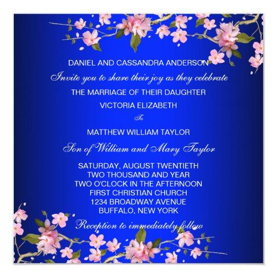 Royal Blue Japanese Cherry Blossoms Wedding Invitation Zazzle Com