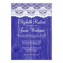 Royal Blue Lace & Barn Wood Wedding Invitations