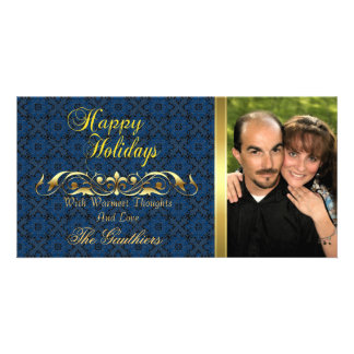 Royal Blue Lace Gold Scroll Holiday Photo Card