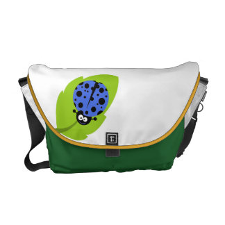 Royal Blue Ladybug Messenger Bag