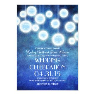 Royal blue lanterns vintage wedding invitation