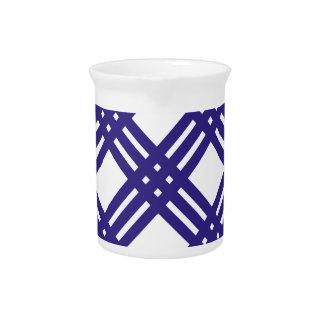 Royal Blue Lattice Beverage Pitcher