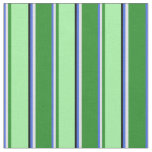[ Thumbnail: Royal Blue, Lavender, Forest Green, Green & Black Fabric ]