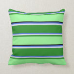 [ Thumbnail: Royal Blue, Lavender, Forest Green, Green & Black Throw Pillow ]