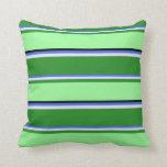 [ Thumbnail: Royal Blue, Lavender, Forest Green, Green & Black Throw Pillow ]