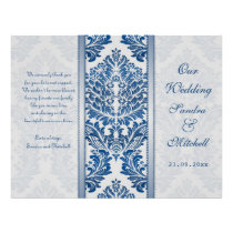 Royal blue leafy damask pattern Wedding Program