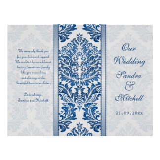 Royal blue leafy damask pattern Wedding Program