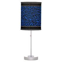 Royal Blue Leopard Lamp with Black Trim