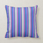 [ Thumbnail: Royal Blue, Light Gray, Fuchsia, and Sea Green Throw Pillow ]
