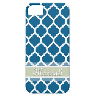 Royal Blue & Light Mint Lattice Custom Name iPhone SE/5/5s Case