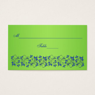 Royal Blue, Lime Green Floral Place Card
