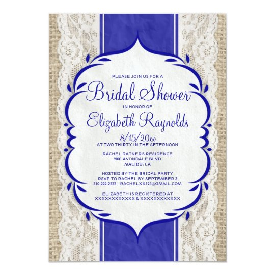 Royal Blue Linen Burlap Lace Bridal Shower Invites